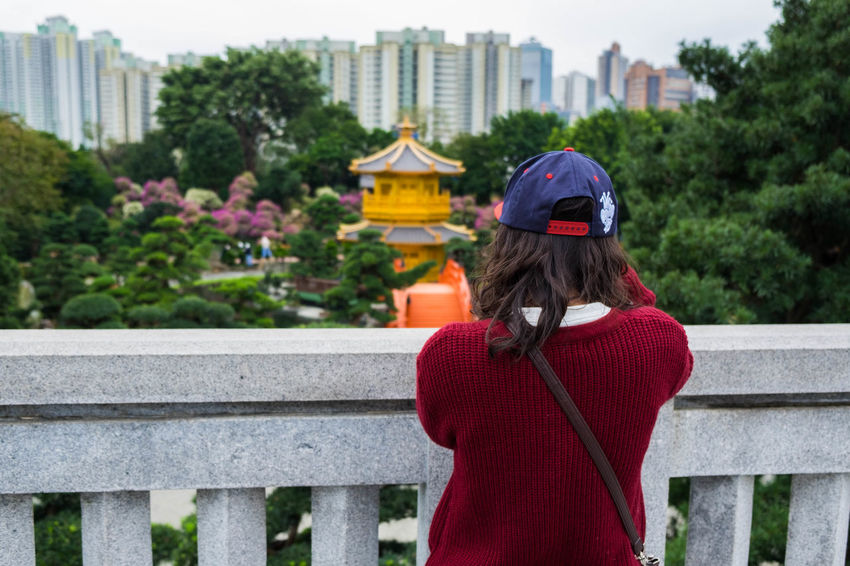 Taking a photo at Chi Lin Nunnery Architecture Building Exterior City City Life Day Focus On Foreground G HongKong In Front Of Outdoors Person Railing Rear View Slow Life Slowlife Standing Temple Three Quarter Length Tree Waist Up