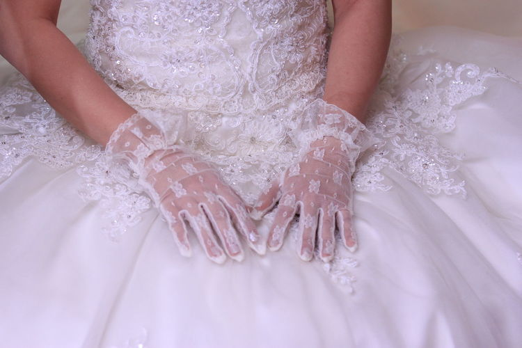Preparation for the wedding day Wedding Wedding Dress Newlywed Bride Midsection Celebration Women Event Life Events White Color Human Hand Hand One Person Real People Clothing Human Body Part Dress