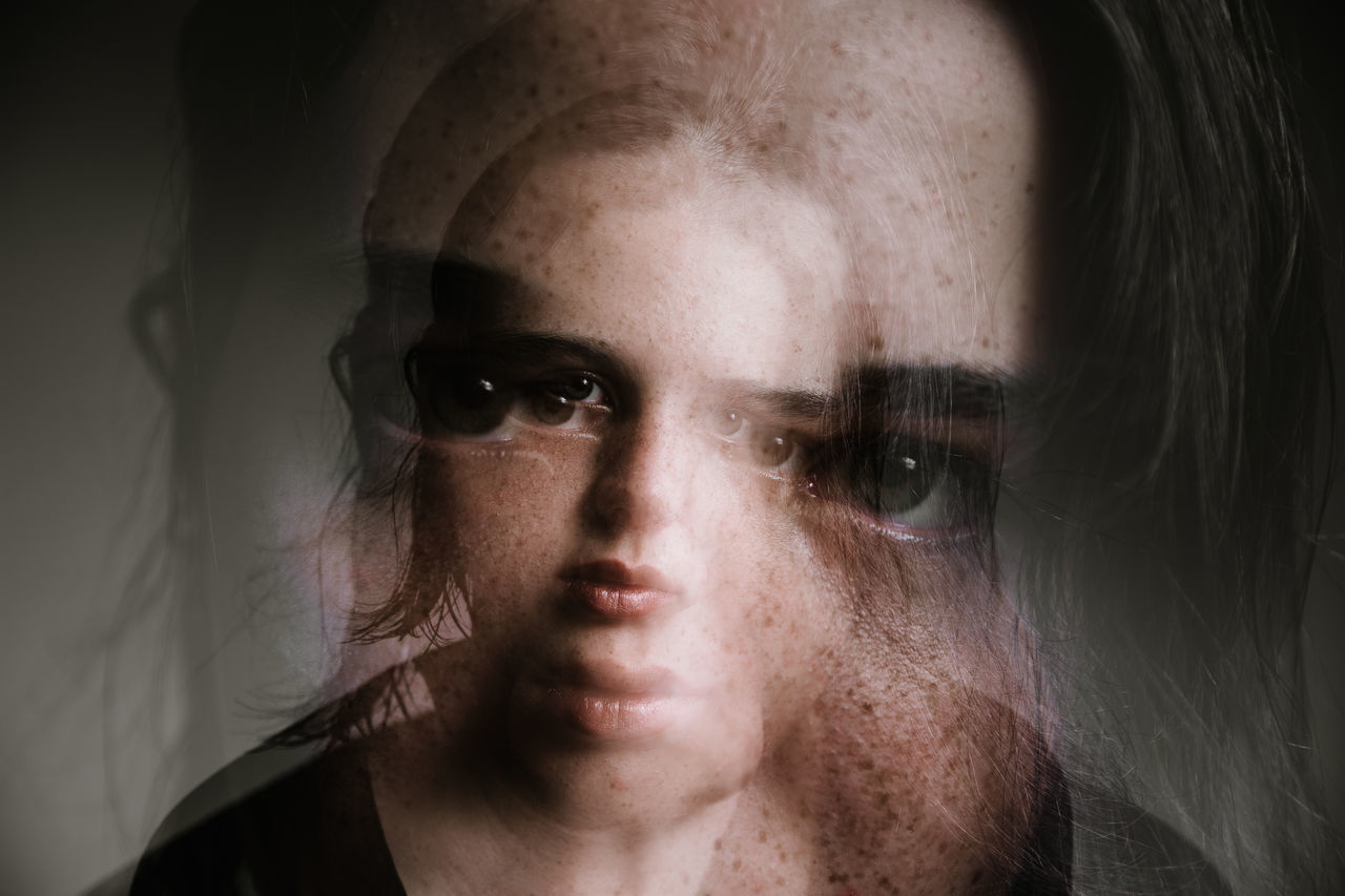 Multiple exposure of teenage girl