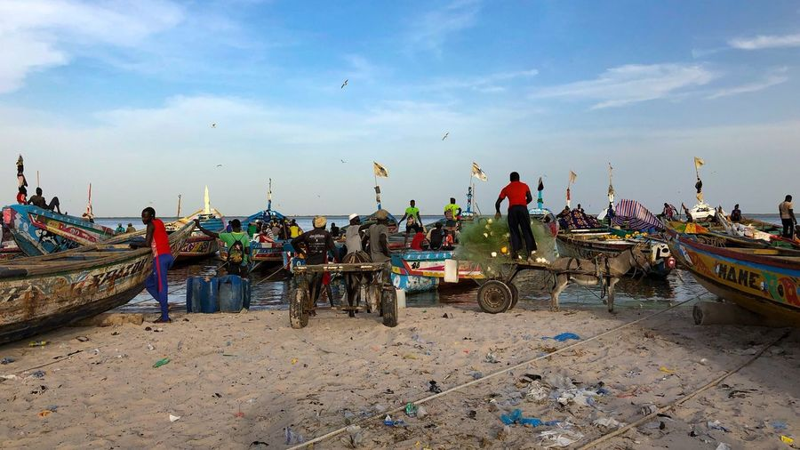 Djifère Fishing port Color Pop Daily Life Fishing Boat Senegal Cloud - Sky Group Of People Crowd Large Group Of People Real People Beach Sea Fishing Industry
