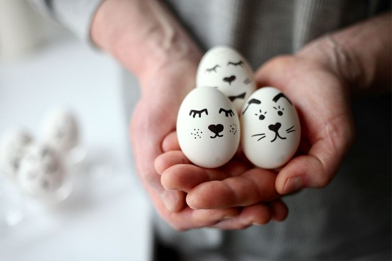 Close-up of person holding eggs