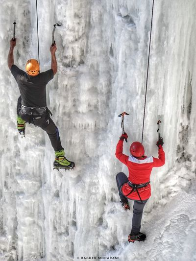 Full Length Real People Two People Outdoors Warm Clothing Day PeopleIranian_photography Beauty In Nature Waterfall EyeEmNewHere 2017 Oromieh Ice Close-up Iran Urmia زمستان  Climbers Mountain اورمیه ارومیه برف ایران Winter