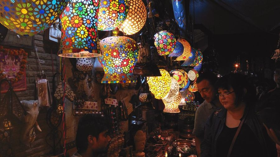 Lamps Vendor Shoppers Browsing Lights
