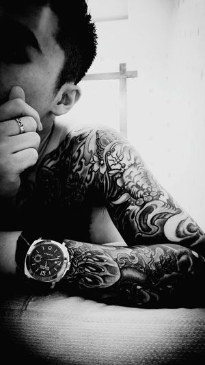 Sitting Tattoo Close-up Casual Clothing
