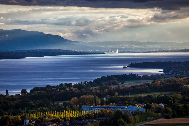 Beauty In Nature Blue Cloud - Sky Day Geneva Geneve Horizon Over Water Lake Landscape Leman Lake Switzerland Mountain Nature Water