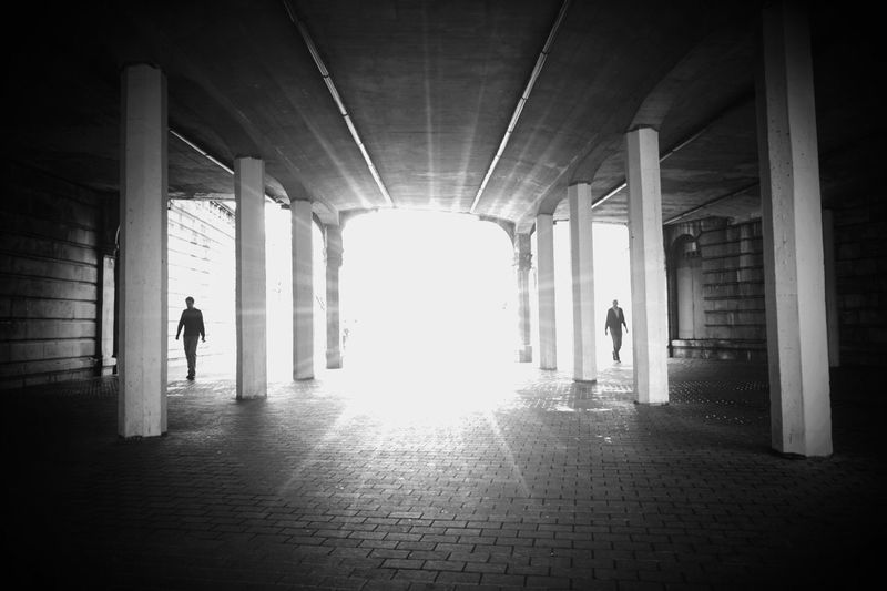 Architecture Built Structure Sunlight Silhouette Architectural Column Indoors  Full Length The Way Forward Day Men People Only Men Adult Adults Only Street Streetphotography City Abstract Traveling Blackandwhite Black And White Travel City Life