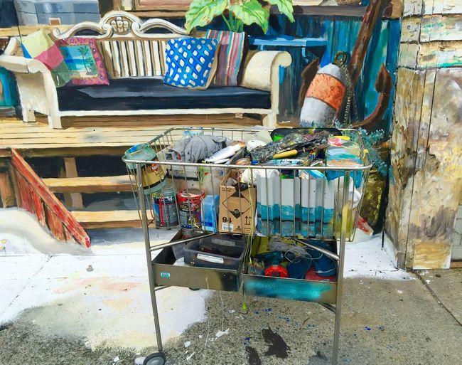 Painters Cart: Chaos before Art Abandoned Abundance Arrangement Cart Chair Choice Container Damaged Destruction Large Group Of Objects Messy Metal Metallica Obsolete Pain Paint Paint Cart Painters Cart Retail  Sidewalk Art Sitting Still Life Street Street Art Urban