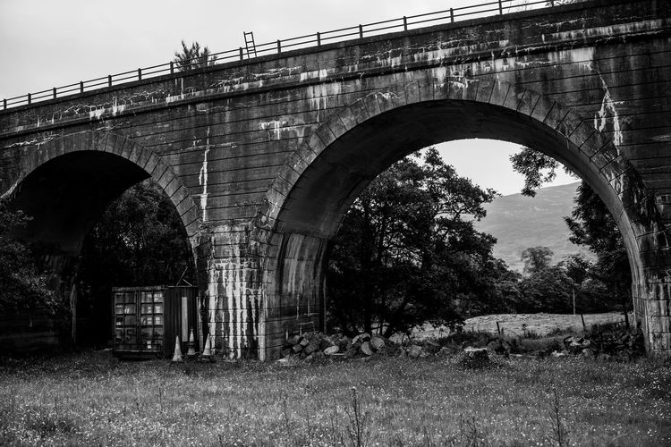 Lomography Neptune Convertible Art Lens System Black And White Blackandwhite Built Structure Architecture Arch Bridge Bridge - Man Made Structure Tree Plant Connection Nature No People Day Low Angle View Sky Grass Transportation Outdoors Building Exterior Arch Bridge Growth History Architectural Column Arched