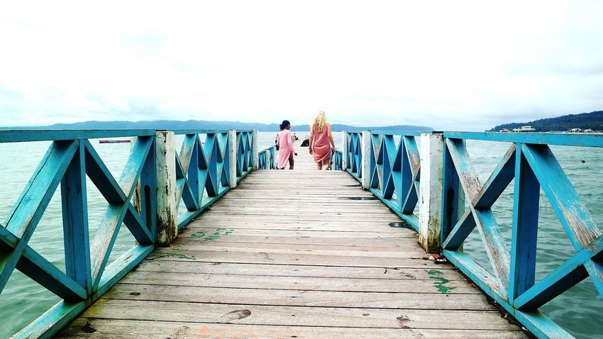 Two People Pier Sky People Adults Only Cloud - Sky Blue INDONESIA Sea Sea And Sky