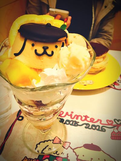 Pompompurin Sanrio Japanese Food Japan Photography Japanese Culture Cawaii Purin Yammy!!  Yellow Harajuku Tokyo Japan IPhoneography