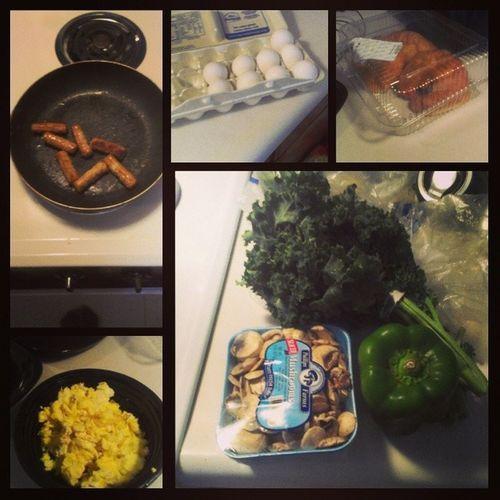 #foodprep #breakfast Breakfast Mushrooms Eggs Foodie Foodporn Sausage Kale Carbs Foodstagram Ilovecooking Foodprep Bellpeper
