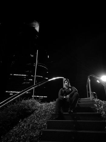 Leicadualcamera Leicacamera Monochrome Building Story Office Building Growth Tall City Sky Modern Skyscraper Tall - High Building Exterior Night Leica HuaweiP9 HuaweiP9plus Huaweiphotography Dark Architecture Built Structure Tower Outdoors Sitting Side View