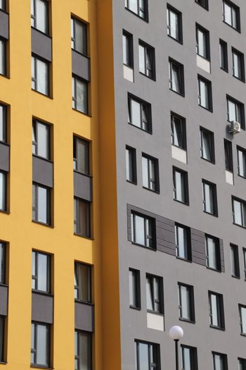 Window Architecture Built Structure Building Exterior Full Frame Building City No People Backgrounds Outdoors In A Row Residential District Apartment Day Low Angle View Sunlight Balcony Repetition Glass - Material Pattern