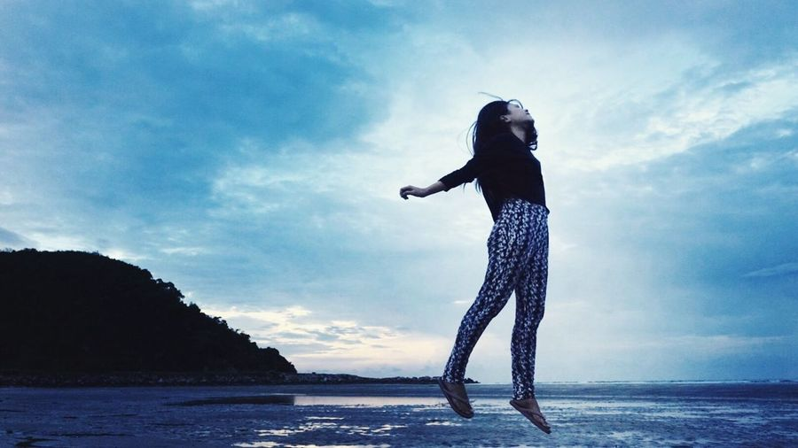jump to the moon Water Sea Full Length One Person Sky Leisure Activity Real People Outdoors Cloud - Sky Beach Young Women Lifestyles Horizon Over Water Nature Beauty In Nature Silhouette Standing Day Young Adult Scenics Jumping Hope Faith Goal