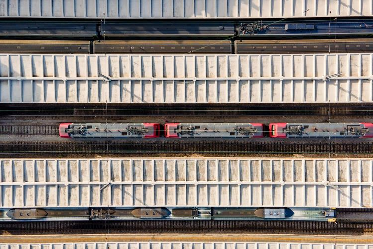 Aerial view of santa apolonia train station