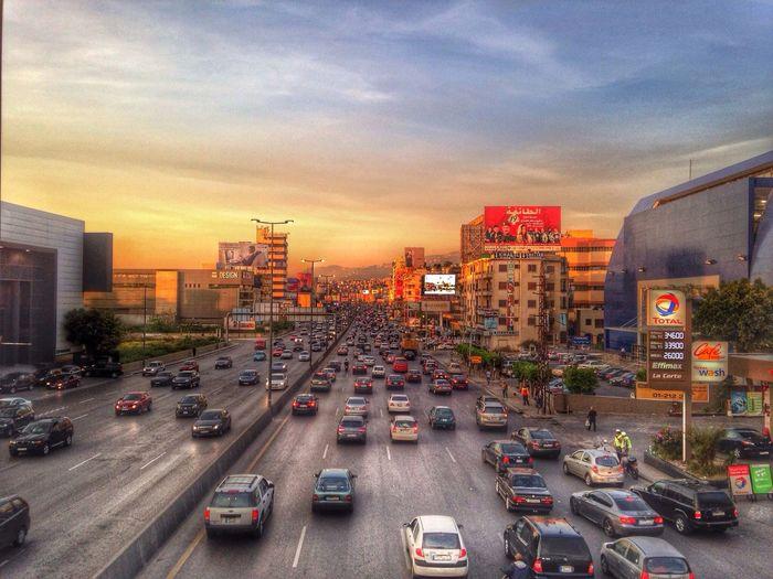 Sunset Traffic Nature Car