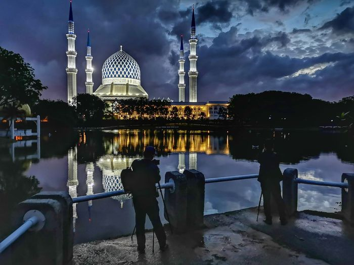 Reflections In The Water Reflection Lake Mosques Of The World Night Photography City Water Dome Illuminated Tree Place Of Worship Reflection Sky Architecture Building Exterior Urban Skyline Skyscraper The Mobile Photographer - 2019 EyeEm Awards