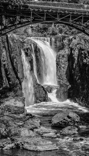 Beauty In Nature Waterfall Black And White