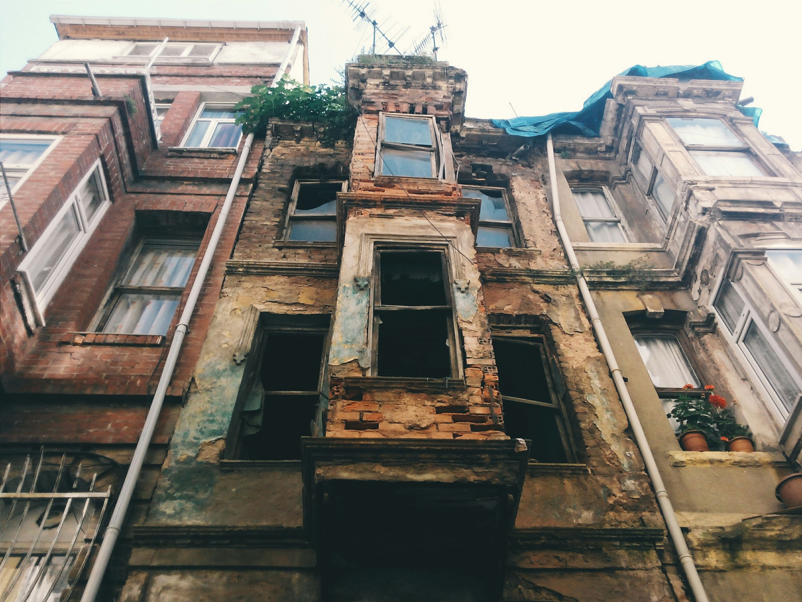 architecture, building exterior, built structure, low angle view, old, damaged, abandoned, obsolete, window, deterioration, building, run-down, weathered, residential building, bad condition, residential structure, ruined, clear sky, house, day