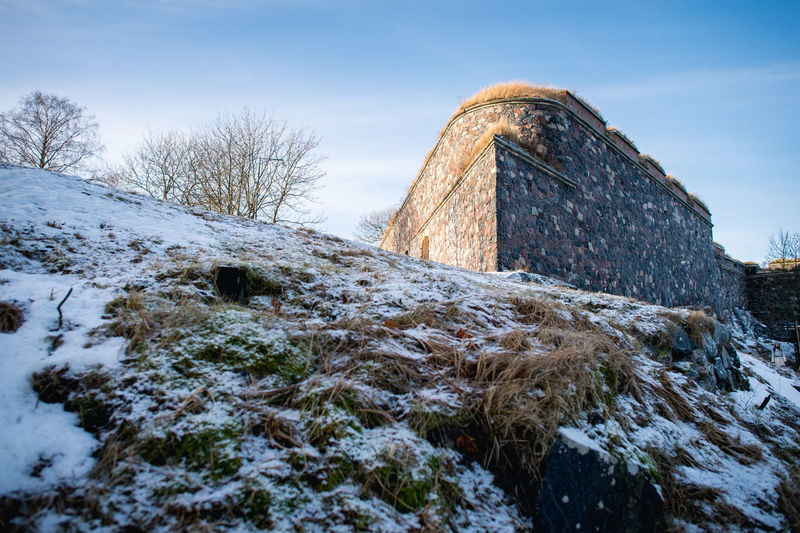 Architecture Cold Day Finland Fortress Helsinki History Medieval No People Outdoors Sea Snow Suomenlinna Tradition Travel Destinations Winter Winter Wintertime