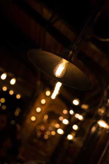 Close-up Electricity  Hanging Illuminated Indoors  Light Bulb Lighting Equipment Low Angle View No People Technology