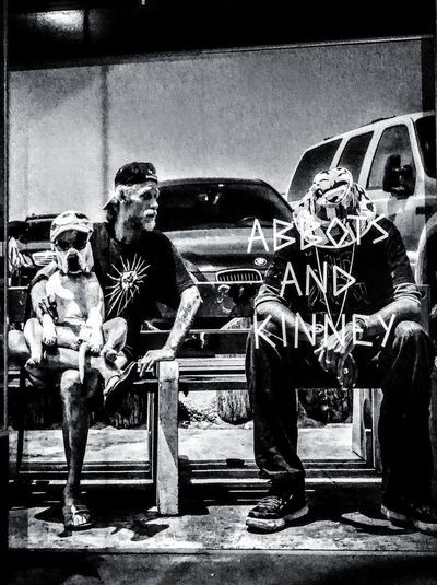 AbbotsAndKinney Dog People 2 People Two People Males  Buddies Friends Man And Dog Man And His Dog Mananddog Mansbestfriend Man's Best Friend Check This Out Abbots And Kinney Mates Mates, Buddies, Chums, Pals And Friends Streetphotography Streetphoto_bw Street Photography Wall Art Black And White Black & White Blackandwhite Taking Photos Togetherness Men Friend Street Art