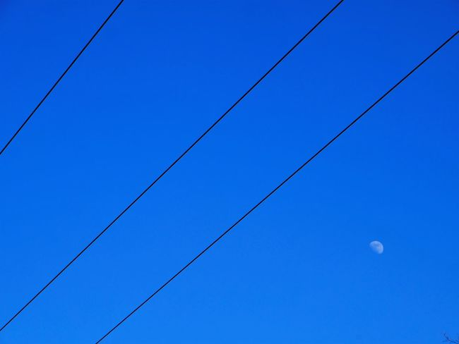 Sky with Moon EyeEm EyeEm Best Edits EyeEm Best Shots EyeEm Best Shots - Black + White EyeEm Best Shots - Nature EyeEm Masterclass EyeEm Nature Lover EyeEm Selects EyeEm Gallery EyeEmBestPics EyeEmNewHere Astronomy Beauty In Nature Blue Cable Clear Sky Day Eyeemphotography Low Angle View Moon Nature No People Outdoors Power Line  Sky Press For Progress Colour Your Horizn