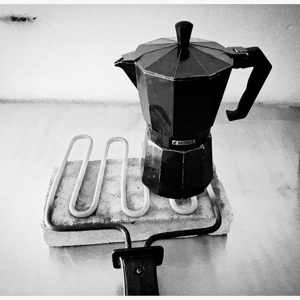 Join us in every morning celebration. Mobilephotography Samsungphotography Ace5 Kultcamera Blackandwhite Monochrome Monochrome World Mediterranean  Tranquility Peaceful Espresso Maker Gas Drink Close-up Coffee Pot Coffee Maker