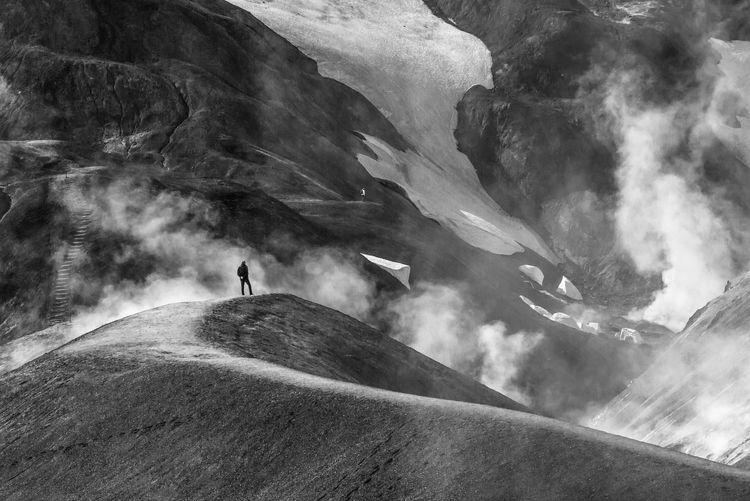 Blackandwhite The Great Outdoors - 2018 EyeEm Awards Kerlingarfjöll Iceland SaveMotherEarth Black & White Black And White Photography Black And White Extreme Sports Mountain Adventure Sport Motion Landscape Hiker Snowcapped Mountain Stay Out