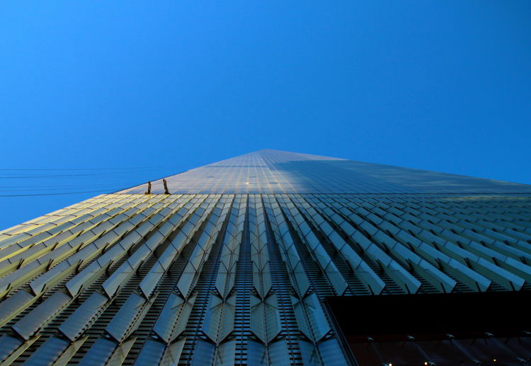 New York City WTC Architecture Blue Blue Sky Bottom View Building Exterior Built Structure City Clear Sky Ground View High Tower Low Angle View Lower Manhattan Modern No People Outdoors Sky Skyscraper Tower World Trade Center World Trade Center One World Trade Center Building