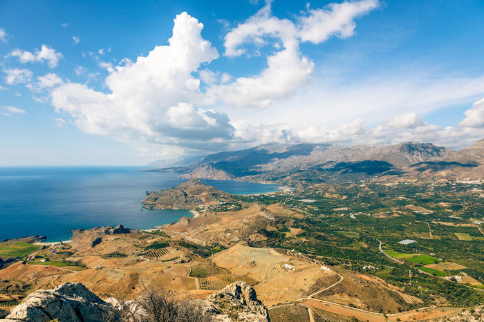 Mediterranean landscape on Crete's southern coast in Greece, Europe. Beach Beauty In Nature Cloud Cloud - Sky Coast Coastline Greece Greece, Crete High Angle View Landscape Mediterranean  Mediterranean Nature Mediterranean Sea Mountain Nature No People Outdoors Panorama Scenics Sea Sky Travel Travel Destinations Water Waterfront