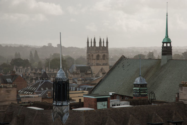 High angle view of church against sky