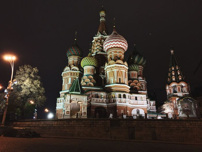 Architecture Religion Building Exterior Night Built Structure Moscow, Москва Redsquare Spirituality No People Low Angle View Sky Dome Illuminated Outdoors Cultures City