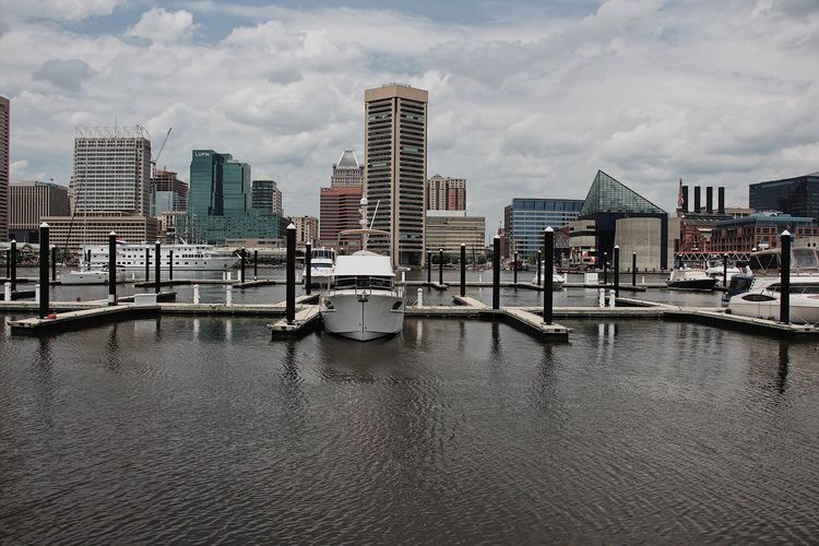 The docks Baltimore Maryland Landscape_Collection Maryland Riverside Architecture Bay Building Exterior Built Structure City Cityscape Cloud - Sky Day Harbor Landscape Modern Outdoors River Sky Skyscraper Transportation Urban Water Waterfront