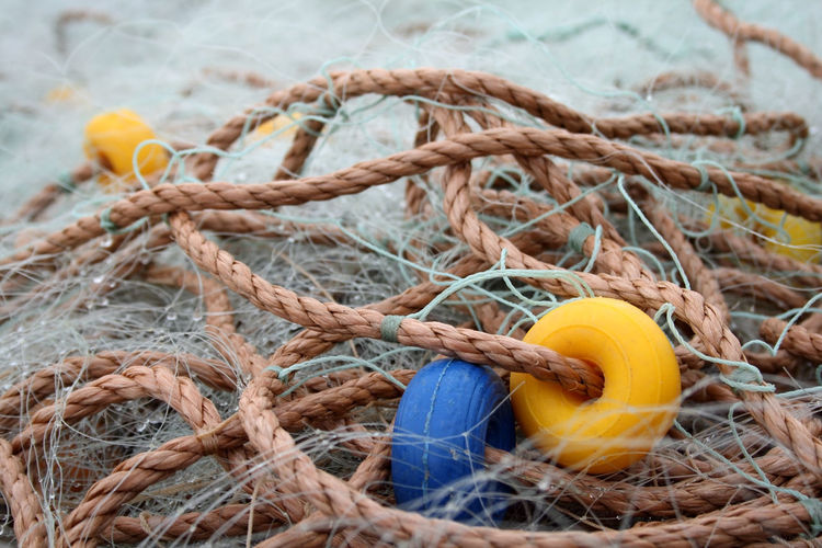 Fishing nets. Fischfang Buoy Close-up Day Fischernetz Fishing Fishing Equipment Fishing Net Fishing Tackle Harbor Nautical Vessel Net No People Outdoors Rope Strength Tied Up Yellow