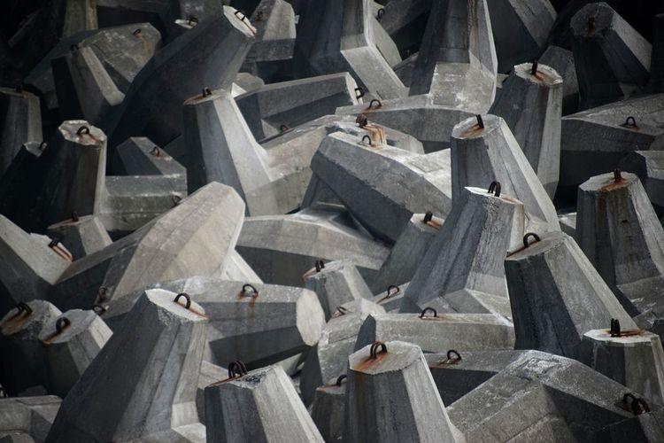Full frame shot of tetrapod rocks