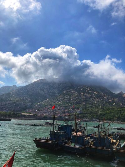 Cloud - Sky Sky Water Nautical Vessel Mode Of Transportation Transportation Nature Sea Day Beauty In Nature No People Outdoors Sailboat Mountain