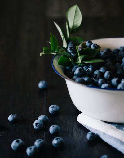 Close-up of blueberries in bowl