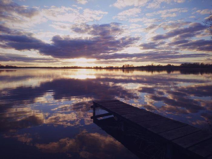 Rajgród, Poland. Reflection Water Sunset Sky Cloud - Sky Lake Nature Scenics Beauty In Nature EyeEm Best Shots VSCO EyeEm Best Edits Landscape