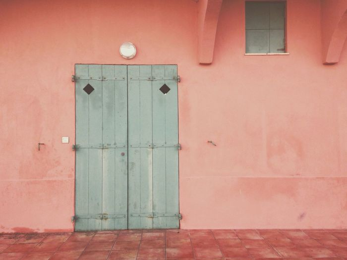 Door Built Structure Architecture Building Exterior No People Pink IPhoneography Green Color France Outdoors