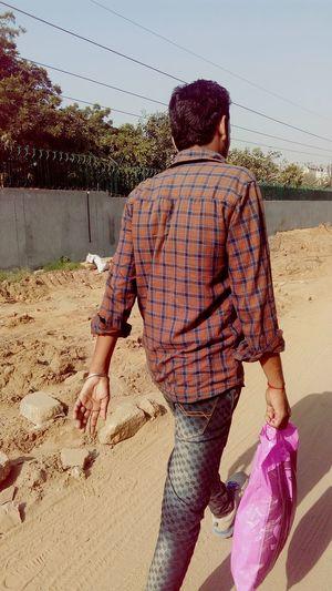 Human Being Walking On Road Under Construction... Bag Carry Bag Mobile Photography SSClickPics SSClicks SSClickpix
