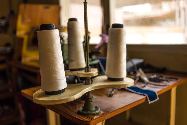 Close-up of loom