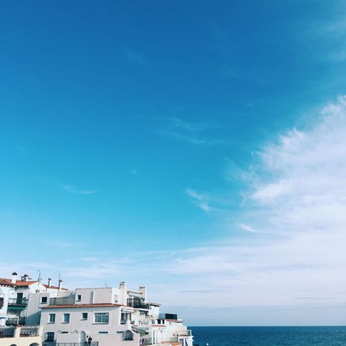 Sky of mediterranean village Sky Architecture Sea Blue Building Exterior Cloud - Sky Built Structure Horizon Over Water Day Water No People Scenics Outdoors Nature Beauty In Nature City Blank Empty BLANKSPACE Copyspace SPAIN Mediterranean  Mediterranean Sea Background Sky And Clouds
