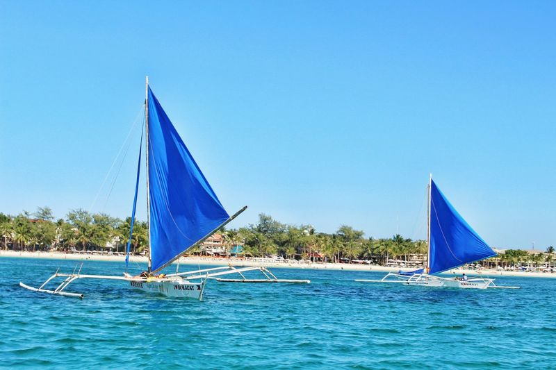 Sailboats Blue Ocean Blue Blue Sails Boats Boracay Philippines Island Life Canon Eos Rebel SL1 Two Is Better Than One Miles Away