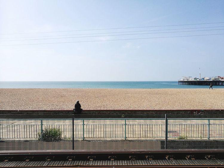 Pebble Beach Railway Track Thinking About Life Brighton Beach Beachlifestyle Still Ocean View Water Sea Beach Sky Horizon Over Water Tranquil Scene Coast Tranquility Ocean Calm