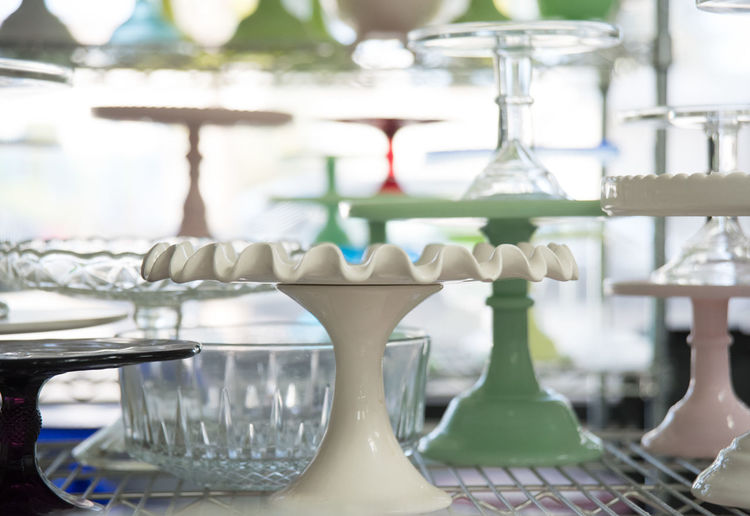 Close-up of empty glasses on table