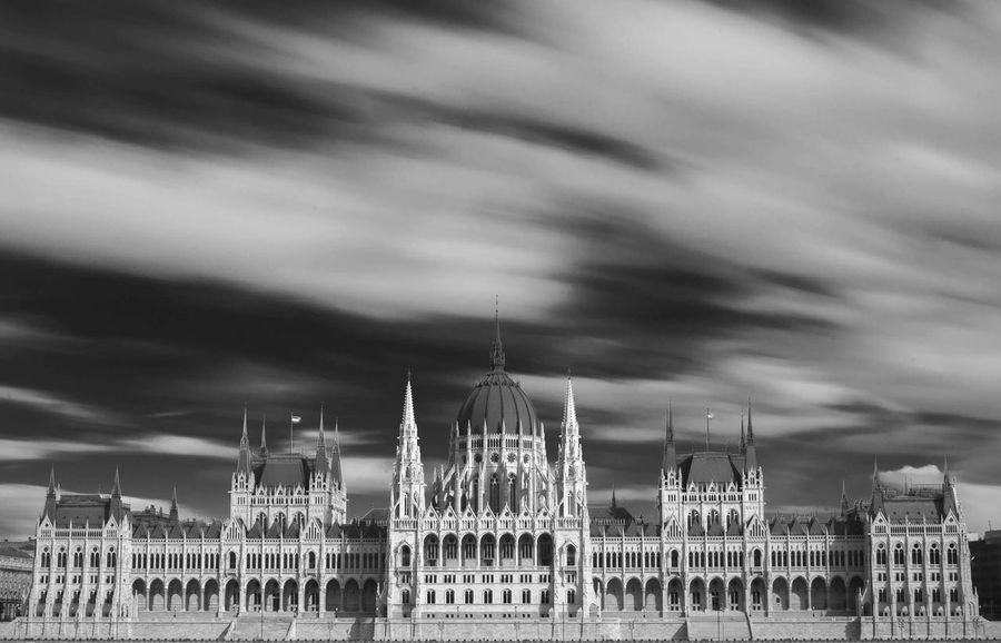 Parlament Budapest Cityscape Cloud - Sky Outdoors Sky Parlamento Húngaro Black & White Long Exposure Government Travel No People Tourism Built Structure Architecture Motion Black And White Friday