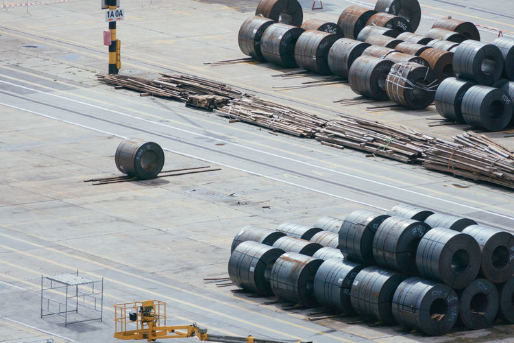 High angle view of pipes on airport