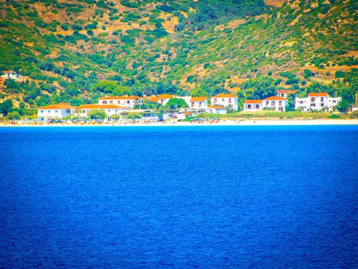 Showcase March On A Boat Beach Life Is A Beach Beach Photography Village Houses Sea Greek Islands No People Shades Of Blue Tranquil Scene Landscapes Quiet Places Seashore Tranquility Samos Island Landscapes With WhiteWall Blue Wave Seascape Sea View The Secret Spaces