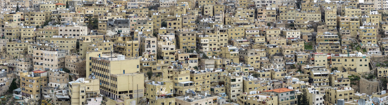Dense architecture of residential houses an apartments in the downtown district of amman, jordan.